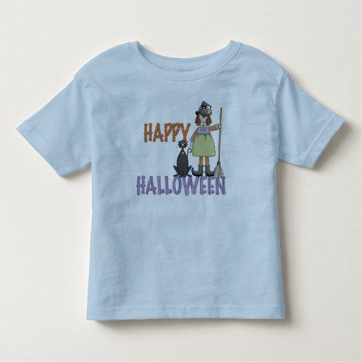 Bruja y gato del feliz Halloween Playeras