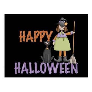 Bruja y gato del feliz Halloween Postal
