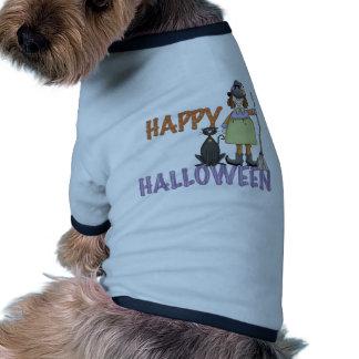 Bruja y gato del feliz Halloween Camiseta De Mascota