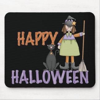 Bruja y gato del feliz Halloween Tapetes De Raton