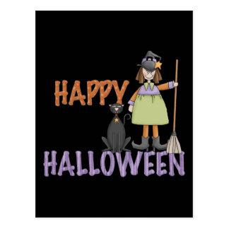 Bruja y gato del feliz Halloween Tarjetas Postales