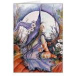 Bruja y gato en una tarjeta de remiendo de la cala