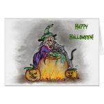 ¡Bruja y gato, feliz Halloween! Felicitación