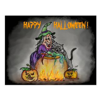¡Bruja y gato, feliz Halloween! Postal