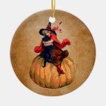 bruja y gato lindos de Halloween del vintage Adorno Redondo De Cerámica