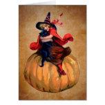 bruja y gato lindos de Halloween del vintage Tarjetas
