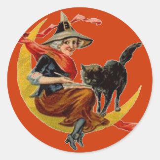 Bruja y gato negro en la luna - pegatina de Hallow