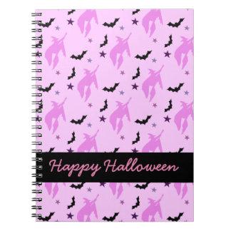 Bruja y palos rosados Halloween femenino Spiral Notebook