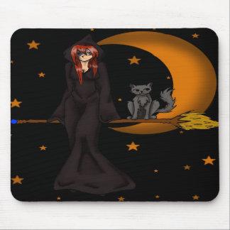 Bruja y su cojín de ratón del gatito alfombrillas de ratón