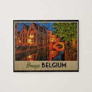 Brujas Bélgica en la noche Rompecabezas