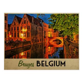 Brujas Bélgica en la noche Tarjetas Postales