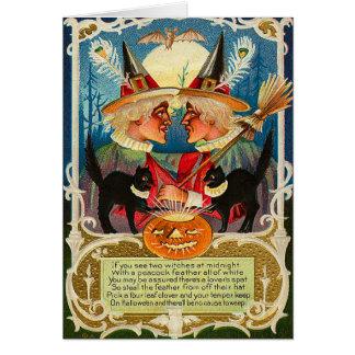 Brujas de Halloween del vintage Tarjeta De Felicitación