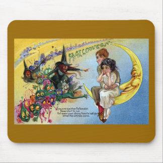 Brujas, Goblins y hombre en la luna Halloween Tapetes De Raton