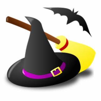 Brujas gorra y escoba de Halloween Esculturas Fotograficas