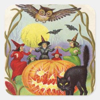 Brujas que bailan alrededor de la linterna de Jack Pegatina Cuadrada