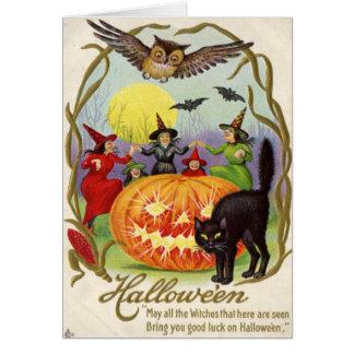 Brujas que bailan alrededor de la linterna de Jack Tarjeta De Felicitación