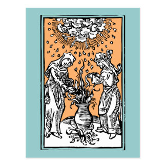 Brujas que elaboran cerveza en una caldera postal