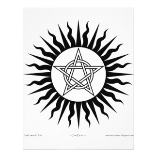 """Brujería: Explosión de Sun; Círculo del Pentagram Folleto 8.5"""" X 11"""""""