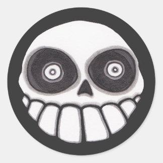 Brujos Locos Skull Sticker - Round