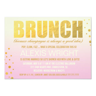 "Brunch 311 porque Champán Ombre rosado Invitación 5"" X 7"""