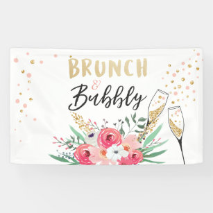 brunch and bubbly bridal shower banner champagne