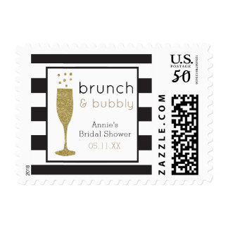 Brunch and Bubbly Bridal Shower Faux Glitter Stamp