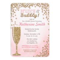 Brunch and Bubbly Bridal Shower Glitter Invitation