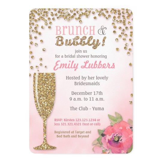 Brunch and bubbly bridal shower glitter invitation zazzle for Champagne brunch bridal shower
