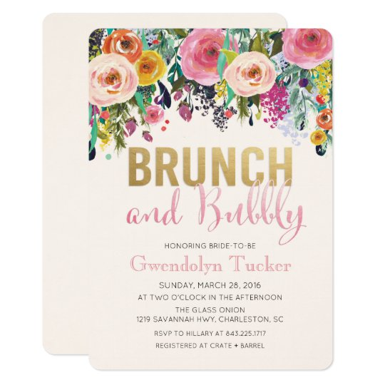 Brunch and Bubbly Bridal Shower Invitation Zazzlecom