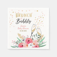 Brunch and Bubbly Bridal shower Paper Napkins Pink