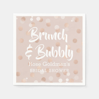 Brunch and Bubbly Bridal Shower Rose Gold Confetti Napkin