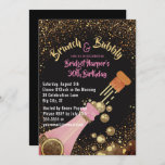 """Brunch and Bubbly Champagne Birthday Invitation<br><div class=""""desc"""">Chic champagne and glitter birthday brunch party invites- Reads 'Brunch & Bubbly' at the top in modern, gold color lettering with an elegant, pink ampersand. Personalized with guest of honor's name and event in matching pink lettering style. Faux gold glitter borders the top and bottom against a matte charcoal black...</div>"""
