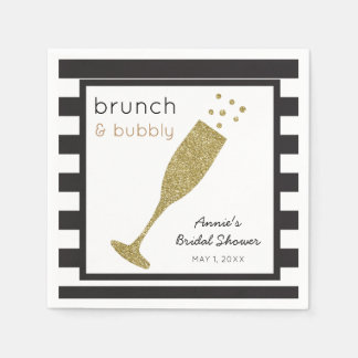 Brunch and Bubbly Faux Gold Glitter & Black Drink Paper Napkin