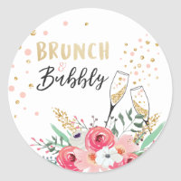 Brunch and bubbly favor tag Bridal shower pink
