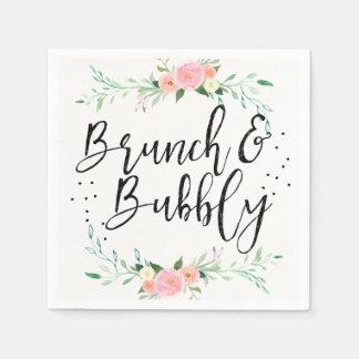 Brunch and Bubbly Floral Bridal Shower Napkin