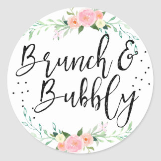 Brunch and Bubbly Floral Bridal Shower Sticker