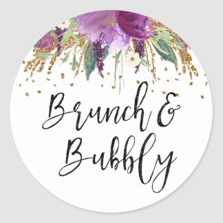 Brunch and Bubbly Purple Amethyst Bridal Shower Classic Round Sticker