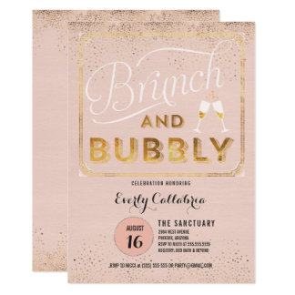Brunch and Bubbly Rose Gold Shower Invitations