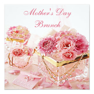 Brunch atractivo del día de madre de las flores y invitación 13,3 cm x 13,3cm