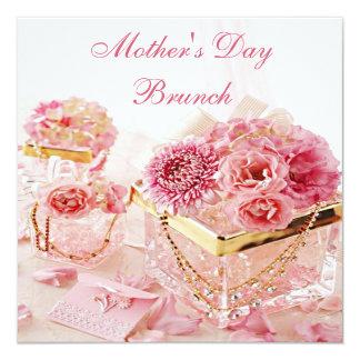 """Brunch atractivo del día de madre de las flores y invitación 5.25"""" x 5.25"""""""