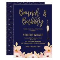Brunch Bubbly Blue Gold Bridal Shower Invitation