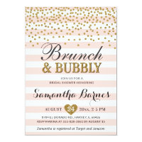 Brunch Bubbly Blush Pink Gold Bridal Shower Invitation