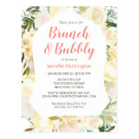 Brunch & Bubbly Boho Bridal Shower Invitation Postcard