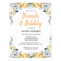 Brunch & Bubbly Bridal Shower Floral Boho Postcard