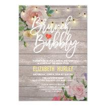 Brunch Bubbly Bridal Shower Floral String Lights Invitation