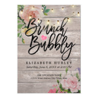 Brunch Bubbly Bridal Shower Floral String Lights Invitation