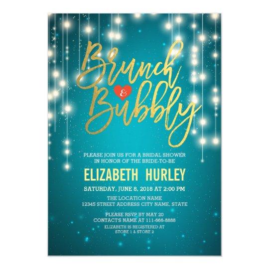 brunch bubbly bridal shower gold script turquoise invitation