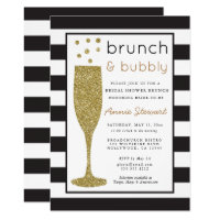 Brunch & Bubbly Bridal Shower Invitation Glitter