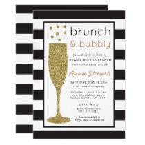 Brunch & Bubbly Bridal Shower Invitation Glitter