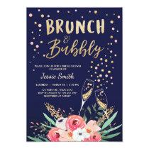 Brunch & Bubbly Bridal shower invitation Navy Gold